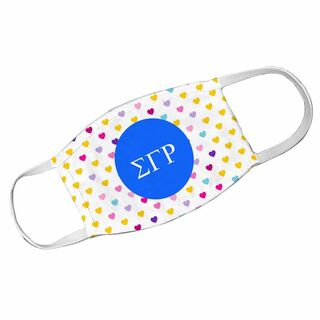 Sigma Gamma Rho Hearts Face Mask