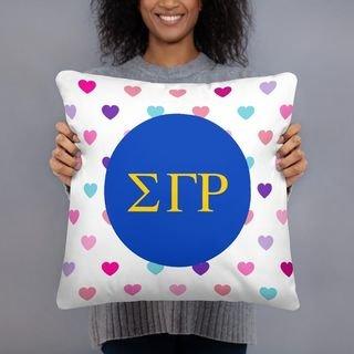 Sigma Gamma Rho Hearts Pillow