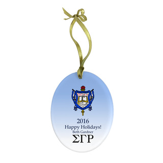 Sigma Gamma Rho Holiday Color Crest - Shield Glass Ornament