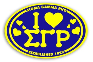 Sigma Gamma Rho I Love Sorority Sticker - Oval