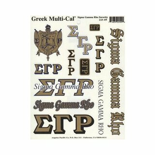 Sigma Gamma Rho Multi Greek Decal Sheet - CLOSEOUT