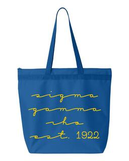 Sigma Gamma Rho New Script Established Tote Bag