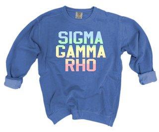 Sigma Gamma Rho Pastel Rainbow Crew - Comfort Colors