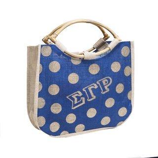 Sigma Gamma Rho Polka Dot Jute Bag