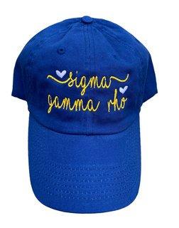 Sigma Gamma Rho Script Hearts Ball Cap