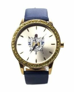 Sigma Gamma Rho Sorority Leather Band Watch w/ Shield