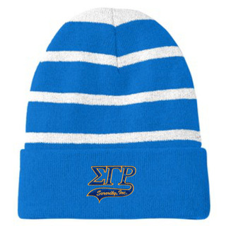 Sigma Gamma Rho Striped Beanie with Solid Band