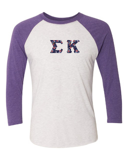 Sigma Kappa Unisex Tri-Blend Three-Quarter Sleeve Baseball Raglan Tee