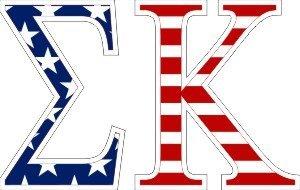 """Sigma Kappa American Flag Greek Letter Sticker - 2.5"""" Tall"""