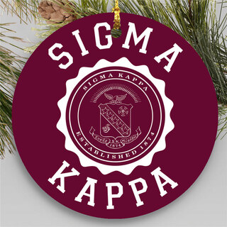 Sigma Kappa Round Christmas Shield Ornament