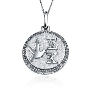 Sigma Kappa Circular Silver Lavalier