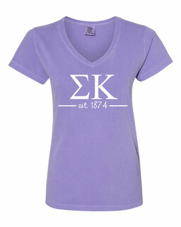 Sigma Kappa Comfort Colors Est. V-Neck T-Shirt