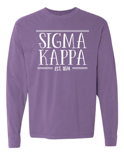 Sigma Kappa Comfort Colors Custom Long Sleeve T-Shirt