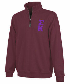 Sigma Kappa Crosswind Quarter Zip Twill Lettered Sweatshirt