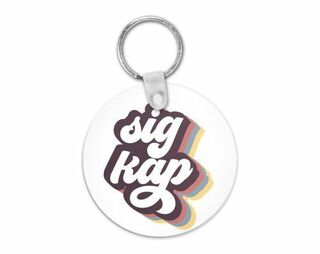 Sigma Kappa Retro Script Keychain