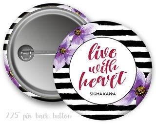 Sigma Kappa Floral Motto Button