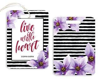 Sigma Kappa Floral Motto Luggage Tag