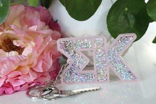 Sigma Kappa Glitter Keychain
