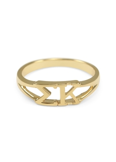 Sigma Kappa Gold Plated Letter Ring