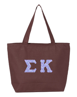 Sigma Kappa Greek Letter Zipper Tote