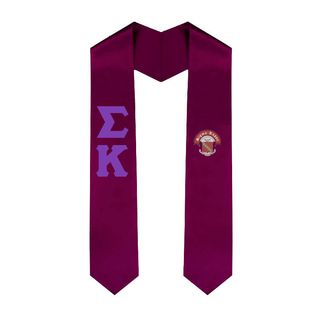 Sigma Kappa Greek Lettered Graduation Sash Stole With Crest