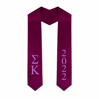 Sigma Kappa Greek Lettered Graduation Sash Stole With Year - Best Value