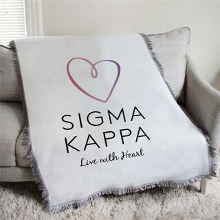 Sigma Kappa Heart Afghan Blanket Throw