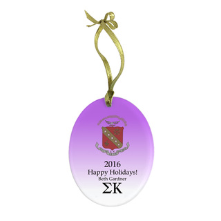 Sigma Kappa Holiday Color Crest - Shield Glass Ornament