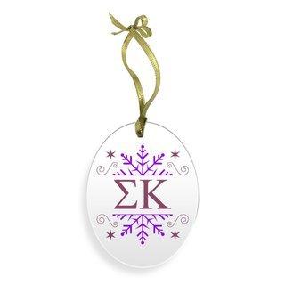 Sigma Kappa Holiday Color Snowflake Glass Christmas Ornament