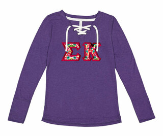 Sigma Kappa LAT - Sorority Fine Jersey Lace-Up Long Sleeve T-Shirt