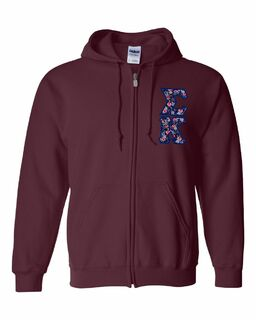 "Sigma Kappa Lettered Heavy Full-Zip Hooded Sweatshirt (3"" Letters)"
