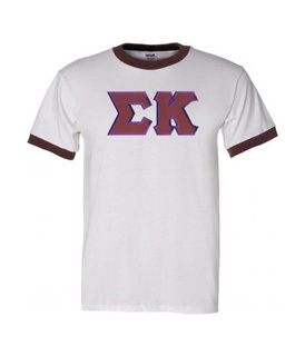 DISCOUNT-Sigma Kappa Lettered Ringer Shirt