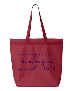 Sigma Kappa New Script Established Tote Bag