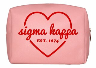 Sigma Kappa Pink with Red Heart Makeup Bag