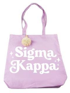 Sigma Kappa Retro Pom Pom Tote Bag