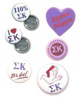 Sigma Kappa Sorority Buttons 6-Pack