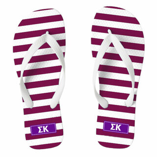 Sigma Kappa Striped Flip Flops