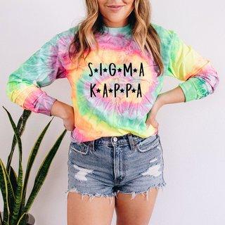 Sigma Kappa Tie-Dye Minty Rainbow Long-Sleeve T-Shirt
