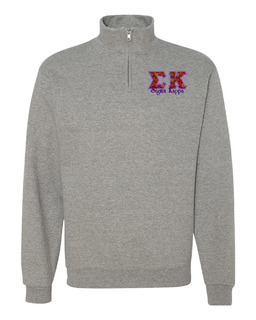 Sigma Kappa Twill Greek Lettered Quarter zip