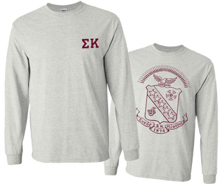 Sigma Kappa World Famous Crest Long Sleeve T-Shirt- MADE FAST!
