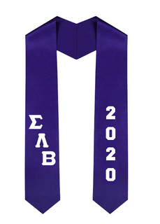 Sigma Lambda Beta Greek Diagonal Lettered Graduation Sash Stole With Year