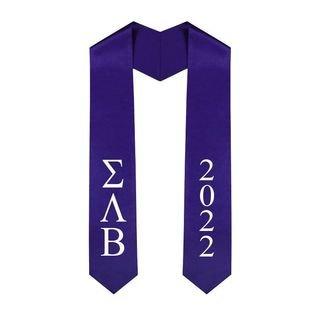 Sigma Lambda Beta Greek Lettered Graduation Sash Stole With Year - Best Value