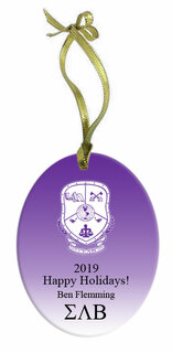 Sigma Lambda Beta Holiday Color Crest - Shield Glass Ornament