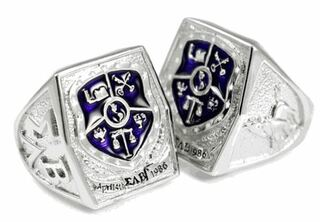 Sigma Lambda Beta Sterling Silver Crest - Shield Ring with Purple Enamel