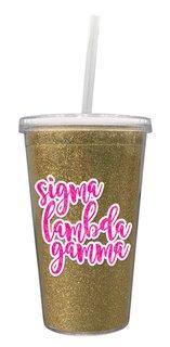 Sigma Lambda Gamma 16 OZ Sorority Newport Glitter Tumbler