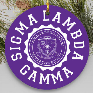 Sigma Lambda Gamma Round Christmas Shield Ornament