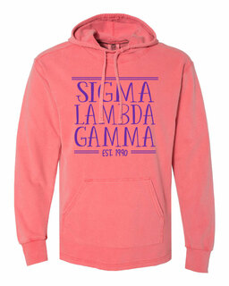 Sigma Lambda Gamma Comfort Colors Terry Scuba Neck Custom Hooded Pullover