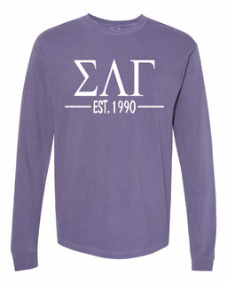 Sigma Lambda Gamma Custom Greek Lettered Long Sleeve T-Shirt - Comfort Colors