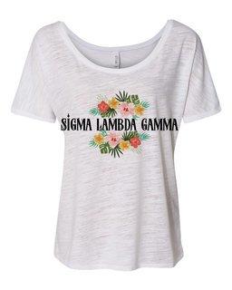 Sigma Lambda Gamma Floral Tribal Slouchy Tee