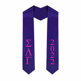 Sigma Lambda Gamma Greek Lettered Graduation Sash Stole With Year - Best Value